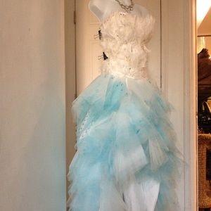 Dresses & Skirts - Handmade Feather Rhinestone chiffon High Low Gown